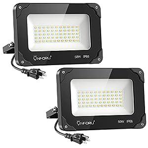 Onforu 2 Pack 50W LED Flood Light Outdoor, 5000lm LED Work Light, IP66 Waterproof Plug in Floodlight Fixture, 5000K Daylight White Super Bright Security Light for Yard, Garden, Basketball Court