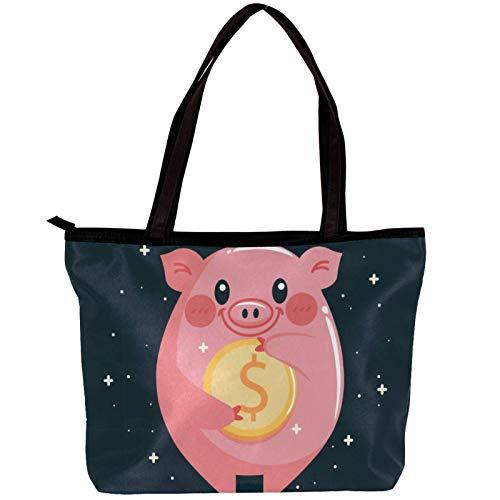 Bolsa de viaje Dinero de cerdo animal lindo Bolso casual de lona de gran tamaño con diseño moderno para mujer 30x10.5x39cm