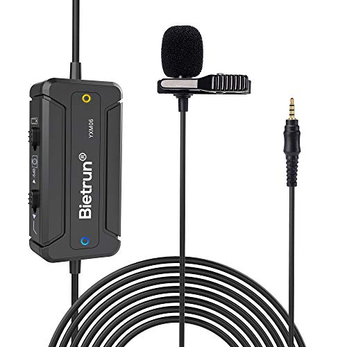 Noise Canceling Lavalier Lapel Video Recording Microphone, 19.6ft, for iPhone/Android Phone/DSLR Camera/Laptop, for Video, Podcast, Recording, YouTube, Interview, Vlogging(Omnidirectional)