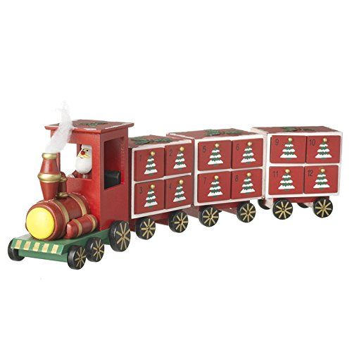Wooden Red Christmas Advent Calendar Xmas Train Engine 3 Carriages Santa Driver by from Then to Now