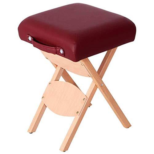 ChairStoolWooden Bench Outdoor Family tuinkruk van massief hout en klapstoel voor huishoudelijke draagbare techniekhocker Beauty Stool 32 * 32 * 50cm rode wijn