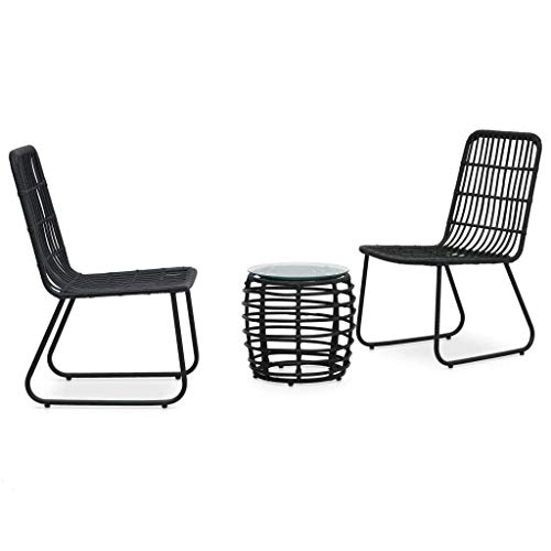3 Piece Bistro Set Bar Set Outdoor Dining Table and Chair Vintage Poly Rattan Black