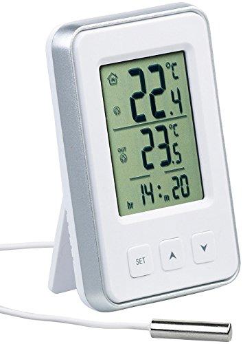 PEARL Temperaturanzeige: Digitales Innen- und Außen-Thermometer mit Uhrzeit und LCD-Display (Thermometer mit Außenfühler Kabel)