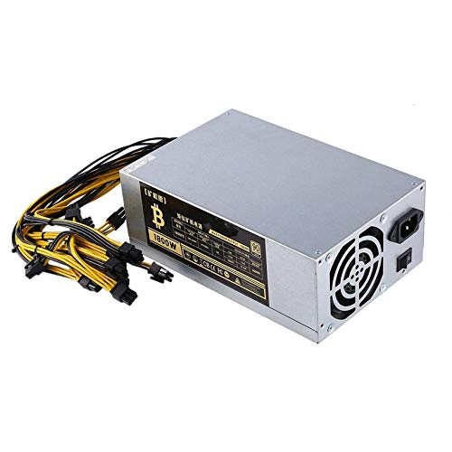 Surobayuusaku 1800W High-Efficiency 10x6 Pin Miner Power Supply for 6 GPU Bitcoin Antminer S9 S7 L3+ D3 T9 E9 A4 A6 A7 with 2 Cooling Fans