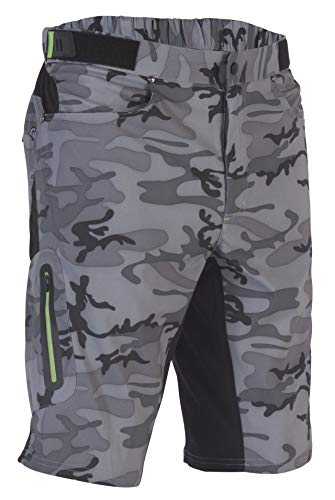 Zoic Men's Ether Camo Mountain Bike MTB Cycle Riding Short Relaxed Fit 12 inch Inseam, UPF 50+, Grey Camo, size X-Large