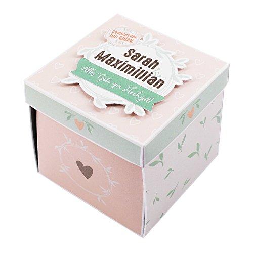 Herz & Heim® Geldgeschenk zur Hochzeit in Form Einer Überraschungsbox mit Namen der Liebenden