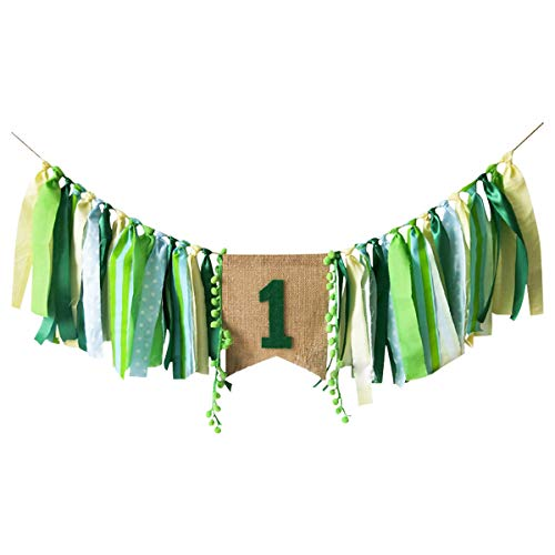 CIEOVO Jungle Theme Baby First Birthday Party Highchair Banner for Photo Booth Props Boy Girl High Chair Bunting Garland Decoration