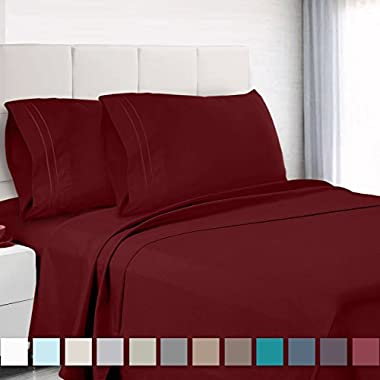 Premium Queen Size Sheets Set - Red Burgundy Hotel Luxury 4-Piece Bed Set, Extra Deep Pocket Special Super Fit Fitted Sheet, Best Quality Microfiber Linen Soft & Durable Design + Better Sleep Guide