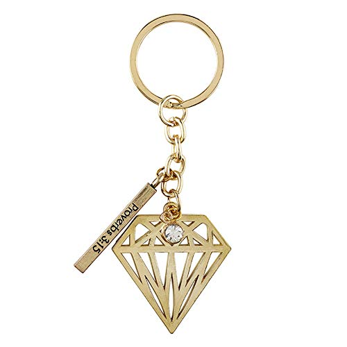 Proverbs 3:15 Gold Toned Keychain with Prayer Card, 3 Inch