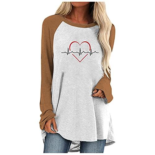 Camiseta de manga larga con estampado de latido cardíaco, informal, cuello redondo suelto, de manga larga,...