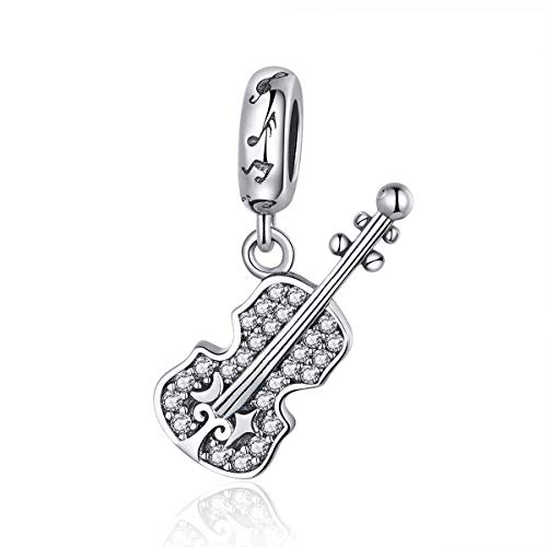 I Love Music Charm Art Charm Original 925 Sterling Silver Music Bead Charms for Pandora Bracelets (Fans of Violin Charms Beads)