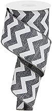 "Chevron Cross Royal Burlap Wired Edge Ribbon - 2.5"" x 10 Yards (Grey, White)"