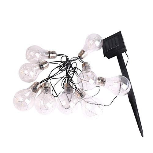 JLXW Lichtsnoer op zonne-energie, 19 voet 10 ledlampen, solardecoratie, buitenverlichting, waterdichte tuinverlichting voor woonkamer, bruiloftsfeest