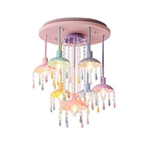 HYY-YY Lámpara de araña - Color Light Mini Plugin Rosa Lámpara para Marco de Metal Rosa con Cristales Acrílicos Rosa Claro