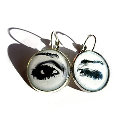 Pendientes de pestañas abiertas, ojo de guiño, ojo de guiño, joyería de ojos, guiño, aretes colgantes - iris - blanco y negro