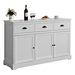 〖Modern Buffet Sideboard & Storage Cabinet〗: This sideboard table features 3 drawers and 3 doors with white finish create instant charm in your home. The lovely white finish and stylish design add a sense of elegance. And, it is perfectly decor your ...