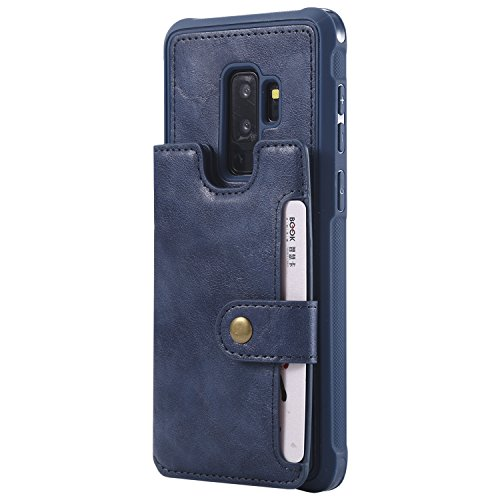 """Samsung Galaxy S9+ S9p Case Wallet Leather,Kickstand Protective Card Holder Magnetic Snap Wrist Strap Durable Cover Shell Girl Boy Men Women-Blue for S9 Plus 6.2"""" 64gb 128gb 256gb"""
