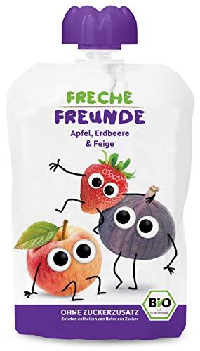 FRECHE FREUNDE Bio Quetschie Apfel, Erdbeer & Feige, Fruchtmus im Quetschbeutel für Babys ab 1. Jahr, glutenfrei & vegan, 6-er Pack (6 x 100g)