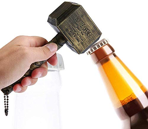 Thor's Hammer Bottle Opener, Mjolnir Beer Bottle Opener for Bar Party BBQ Camping Beer and Marvel Lovers. Thor's Hammer Corkscrew with Magnetic-Silver_Non-Magnetic