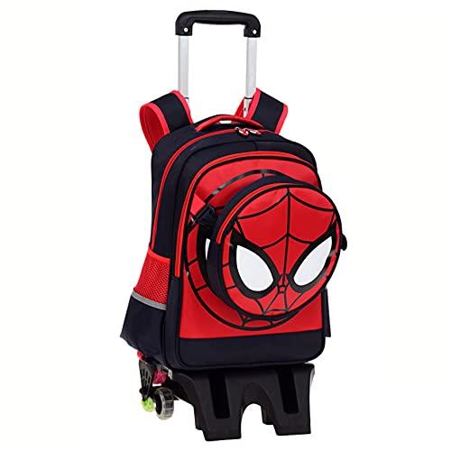 XNheadPS Mochila con Ruedas niños Spiderman Trolley Bag Impresión 3D Mochila para niños Maleta para niños Maleta con Ruedas Seis Ruedas Mochilas Escolares Bolsa,Tall Feet -Six Wheel