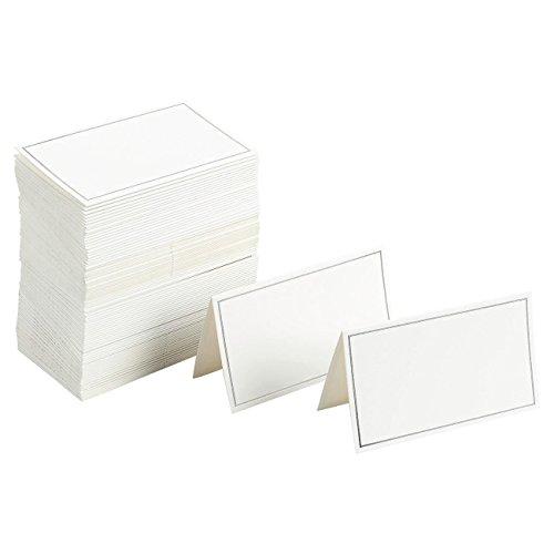 Paquete de 100 tarjetas de lugar – tarjetas pequeñas para tienda, tarjetas de posición de mesa plegables, borde plateado – perfecto para bodas, banquetes, eventos, 2 x 3.5 pulgadas