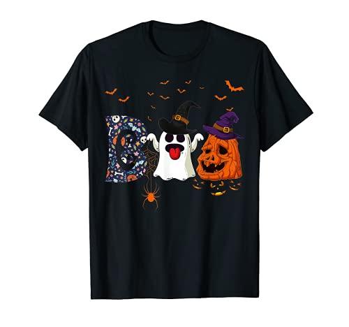 Boo Halloween Disfraz de arañas, fantasmas, Pumkin y sombrero de bruja Camiseta