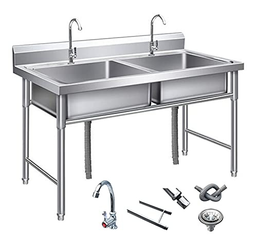 304 RVS Commerciële gootsteen Utility Sink, Double Bowl 1.0mm Dikkere roestvrijstalen gootsteen met standaard, tap…