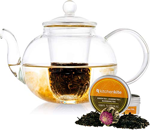 Kitchen Kite Glass Teapot with Glass Infuser with Glass Lid Gift set - Stovetop, Microwave and Dishwasher safe - Tea Pot with Blooming, Loose Leaf Tea Sampler - Tea diffuser & Tea maker