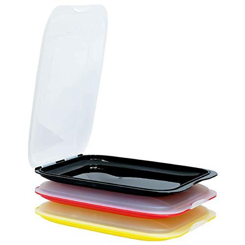 ENGELLAND - Set di 3 scatole impilabili di alta qualità, contenitore salvafreschezza, contenitore per salumi, perfetto ordine in frigorifero – nero rosso giallo, dimensioni 25 x 17 x 3,3 cm