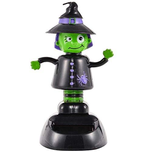 Daxoon Solar Tanzen Spielzeug Halloween Hexe Geist Solar Wackelfigur Kopfschüttelnde Puppe für Halloween Auto Dekor Kinderspielzeug Geschenk