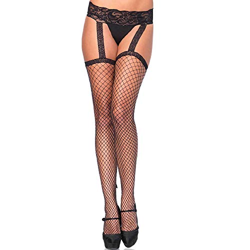 Leg Avenue Women's Backseam Ankle Bow Fishnet Stockings with Attached Garter Belt, O/S, Industrial Black
