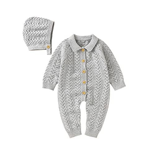 EpicLife Mono de manga larga para bebé recién nacido con sombrero para otoño e invierno, gris, 6 mes
