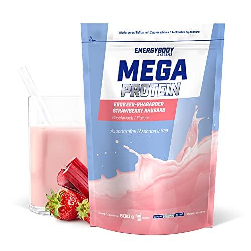 """Energybody Mega Protein """"Erdbeer-Rhabarber"""" 500 g/Mehrkomponenten Protein mit Casein Whey Mix als Eiweißshake/Eiweisspulver ohne Aspartam/Protein-Pulver / 20 Portionen"""