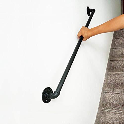 pasamanos Escalera Negro Pasamanos De Escalera De Hierro Forjado Retro Multiusos para Ancianos Y Discapacitados, Barandas De Escaleras Interiores Y Exteriores, Barandales, Perchero, Kit Comple