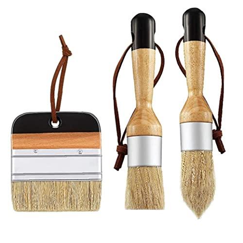 EElabper Cepillos de Tiza de Cera y cepillos cepillos de Mueble Planos en Punta Redonda Chalked Pinceles 3 Piezas