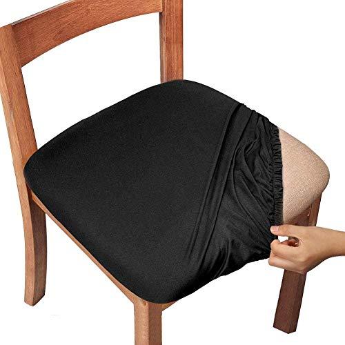 Mazu Homee Funda de asiento de silla, funda de asiento de silla de restaurante con corbata, funda protectora para silla de cocina de restaurante (juego de 4 piezas, geometría gris claro)