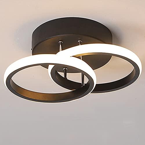 Lámpara de Techo 2 Círculos LED Blanco Negro Moderna Cálido Cómodo Pequeña Luz de Techo para Cocina Sala de Estar Dormitorio Entrada Luz Calida 22W Negro