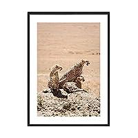砂漠のラクダのポスターキャンバス絵画ヒョウとライオンの壁のアートプリントは野生の見積もりのモダンな写真のための居間の装飾 (Color : B, Size : 40x50cm No Frame)