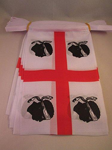 AZ FLAG Guirlande 6 mètres 20 Drapeaux Sardaigne 21x15 cm - Drapeau sarde 15 x 21 cm