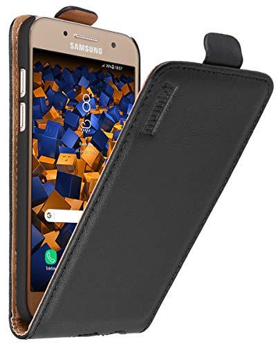 mumbi Echt Leder Flip Hülle kompatibel mit Samsung Galaxy A3 2017 Hülle Leder Tasche Hülle Wallet, schwarz - 4.7 Zoll