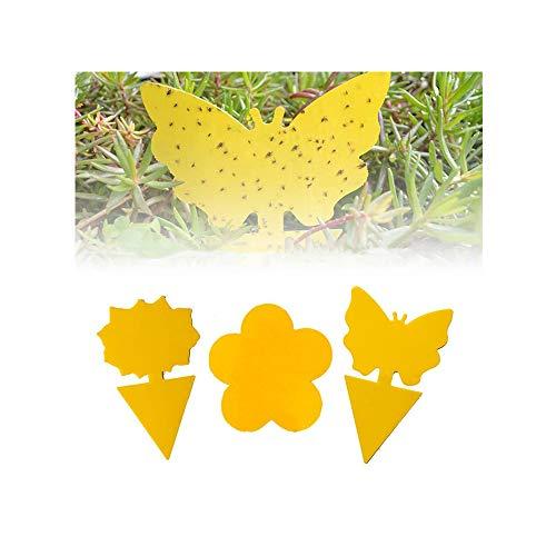 FJSC 20 Piezas Enchufables Trampa para Moscas Placas Amarillas Pegatina Amarilla Planta De Protección contra Los áFidos Mosquitos, Las Moscas De Las Hojas Y Las Alimañas