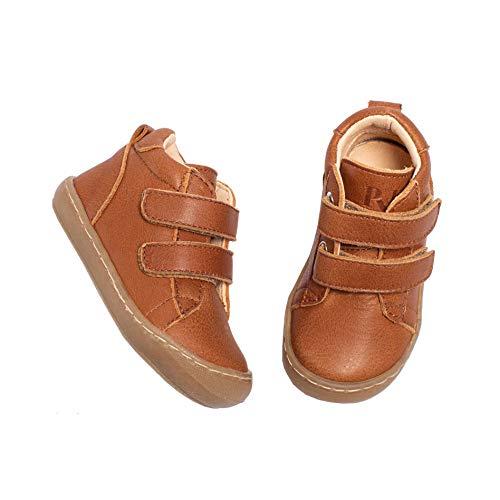 Pyk - Zapatillas de piel ecológica para niños y niñas, color coñac, talla 20-25, color Marrón, talla 23 EU