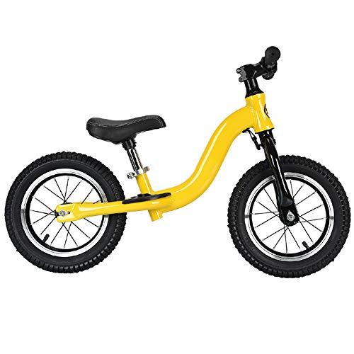 VARY Bicicleta sin Pedales para niños y niñas a Partir de 3-6 año, Bici 12' 14' Ligero (3.4KG) con sillín y manubrio Regulable,Amarillo,14'