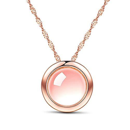 Luziang Damen Halskette,Halskette verchromt Rose Gold Hibiscus Steinpulver Runde Anhänger Kristall und der Silber Schmuck Geburtstagsgeschenk