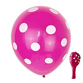 zorpia 12 Inches Latex Assorted Multicolor Polka Dot Balloons Birthday Festival Party Supplies Colorful 100 Pcs  Hot Pink