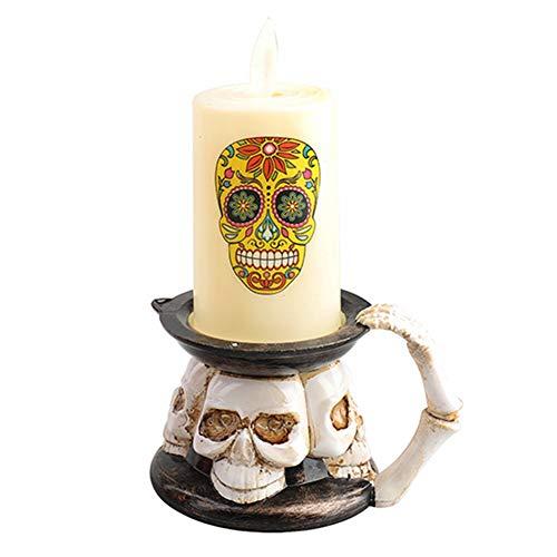 Buyfunny01 Bougeoir LED pour décoration d'Halloween - Fonctionne avec piles - Squelette citrouille - Sans flamme - Petite taille (B)