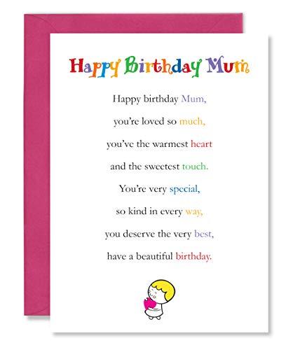 Tarjetas Clarabelle – Feliz cumpleaños mamá | madre | mamá | mamá | mamá | mamá | mamá | tarjetas de felicitación con precioso poema verso vendido por Card Candy