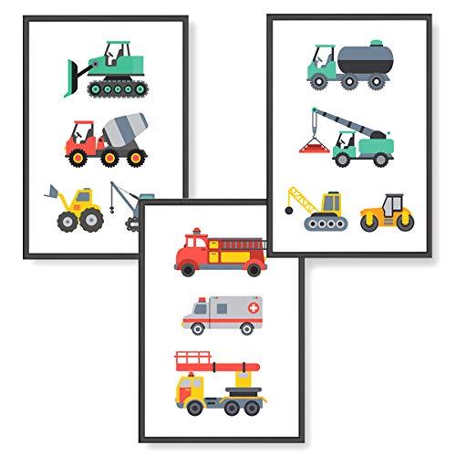 Himmelzucker Premium Wandbilder 3er set für Kinderzimmer Babyzimmer Poster DIN A4 Deko Kinder Kinderposter Junge Mädchen Dekoration Bilder Autos Baustelle Fahrzeuge Feuerwehrauto (Fahrzeuge)
