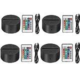 Thlevel 4x 3D Night LED Base per lampada a luce + Telecomando + cavo USB regolabile 7 colo...