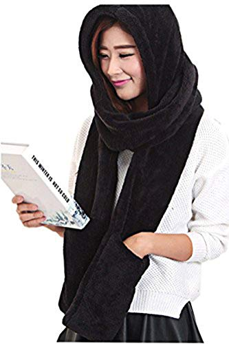 Maleroads 3 in 1 Women and Men Hooded Scarf With Mittens Neckwarmer Hoodie Pocket Hat (thicker, black2)